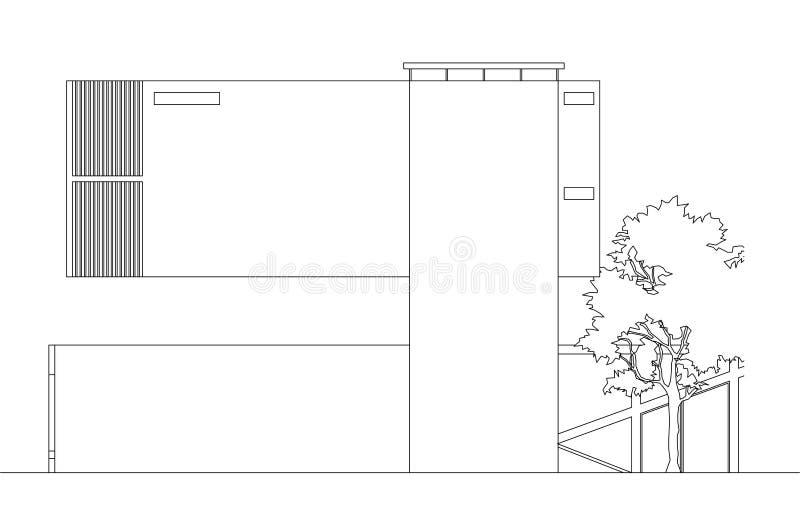Elevación posterior flotante de la casa moderna ilustración del vector