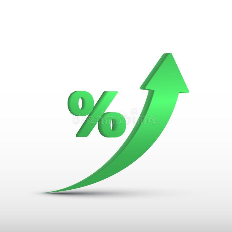 Elevado crescimento do GDP, seta verde acima e ícone dos por cento Aumento do GDP do vetor, lucro de negócio ilustração stock