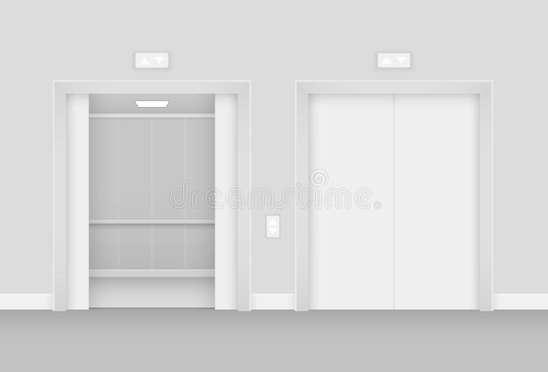 Elevador abierto y vacío realista en el ejemplo interior del vector del pasillo stock de ilustración