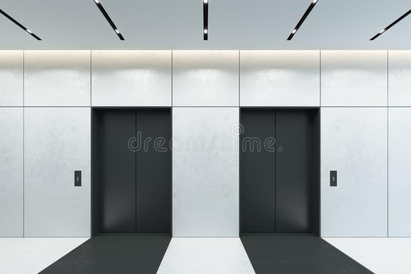 Elevador com as portas fechados na entrada do escritório, rendição 3d ilustração do vetor