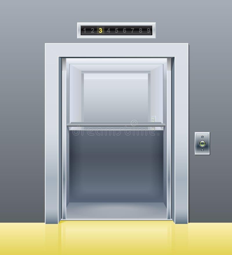 Elevador com porta aberta ilustração stock
