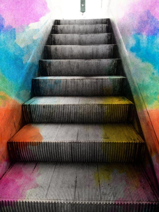 Elevador da escada rolante do arco-íris você para cima e para baixo imagens de stock royalty free