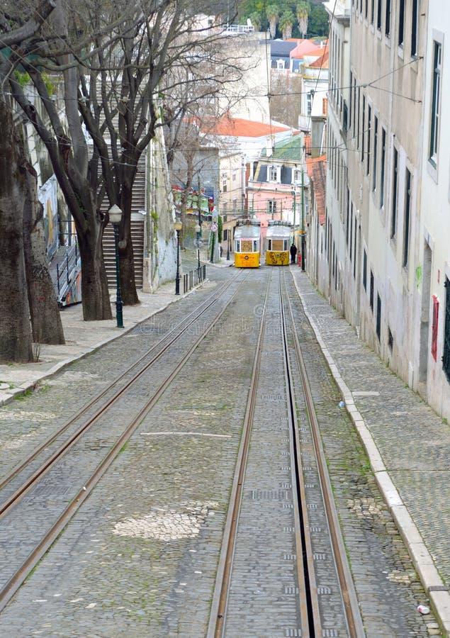 Elevador da Gloia vintage funicular railway stock photography
