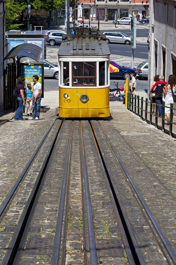 Elevador da Gloria. Lisbon, Portugal. May 26, 2013: Elevador da Gloria, the famous funicular connecting the Restauradores Square to the popular Bairro Alto stock photography