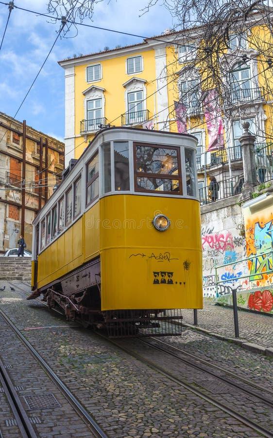 Elevador da Gloria, famous funicular in Lisbon, Portugal. Europe stock image
