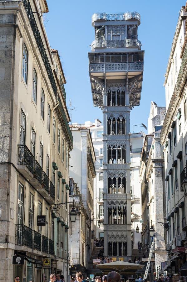Elevador de圣诞老人胡斯塔(圣诞老人胡斯塔推力) -是电梯在历史名城里斯本,葡萄牙 免版税库存照片