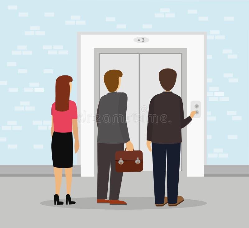 Elevador de espera do grupo da equipe do negócio ilustração royalty free