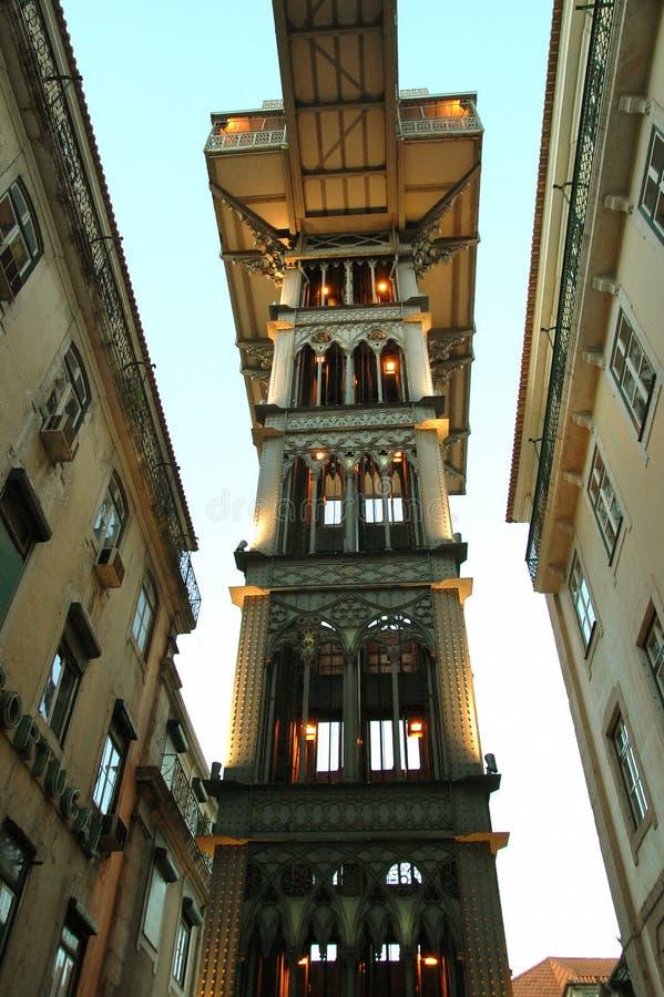 Elevador de Santa Justa. View of the Elevador de Santa Justa from the main street of Lisbon royalty free stock photography