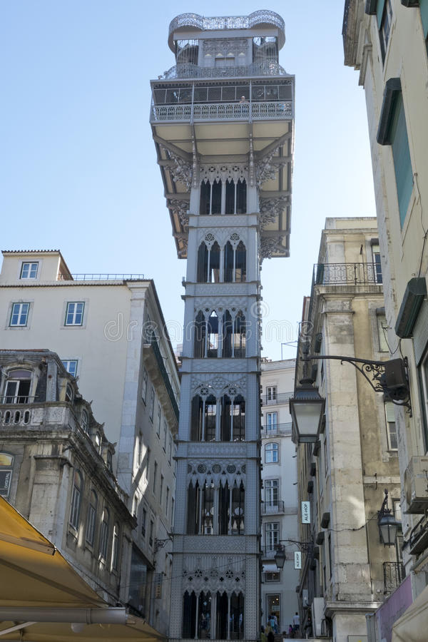 Elevador de Santa Justa - Baixa Chiado, Lisbon Portugal. Unique architecture of the Elevador de Santa Justa - Baixa Chiado, Lisbon Portugal royalty free stock image