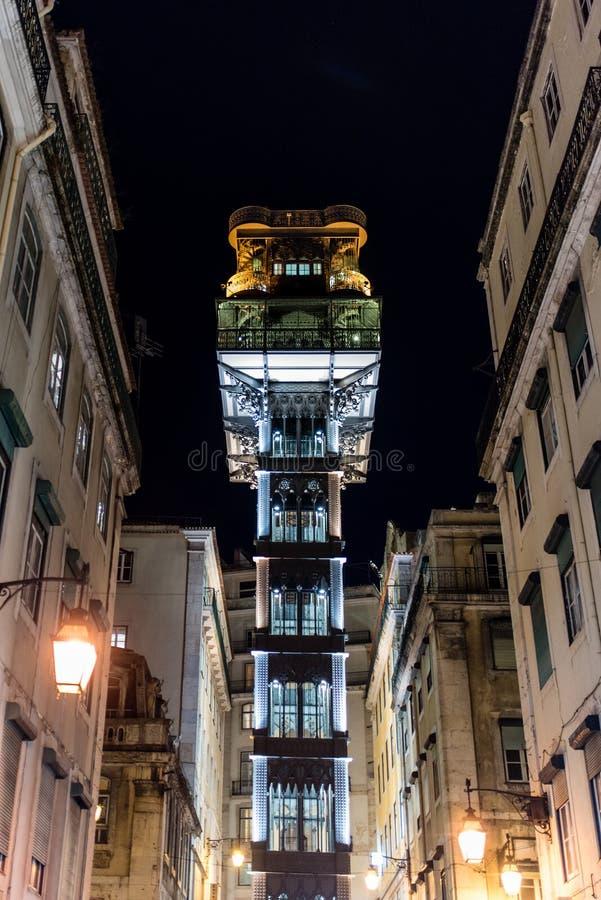 Elevador de Santa Justa in the night, Santa Justa Elevator, land. Elevador de Santa Justa, a.k.a. El Grasciaro, in the night, Santa Justa Elevator, landmark of stock photography
