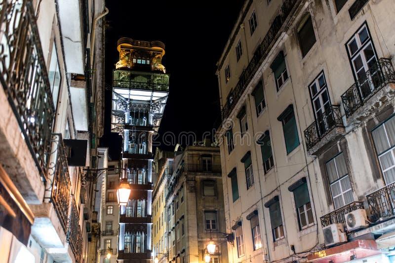 Elevador de Santa Justa in the night, Santa Justa Elevator, land. Elevador de Santa Justa, a.k.a. El Grasciaro, in the night, Santa Justa Elevator, landmark of stock photo