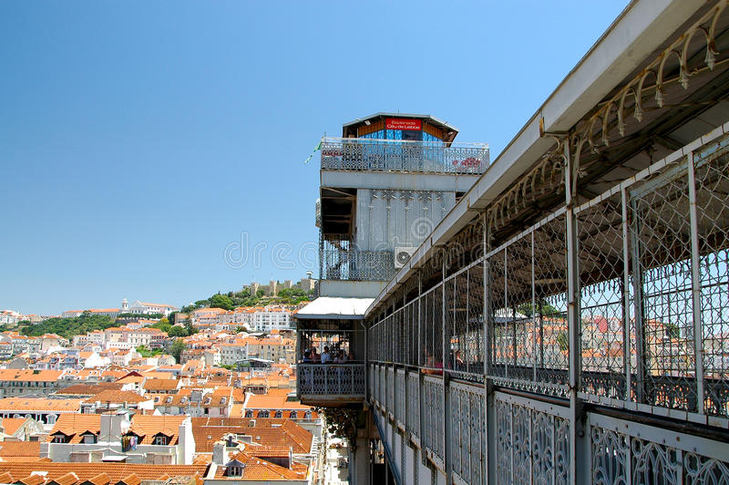 Elevador de Santa Justa: Lift in Lisbon. A lift in the middle of Lisbon: He connects parts of town with each other: Baixa (untertown) with Chiado and Bairro Alto royalty free stock images