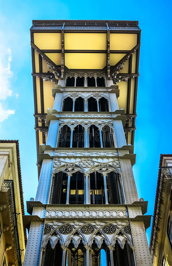The Elevador de Santa Justa in Lisbon, Portugal. Lisbon – With the Elevador Santa Justa from the Baixa to Bairro Alto royalty free stock photos