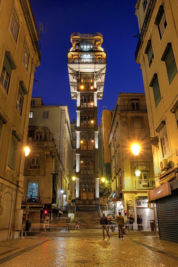 Elevador de Santa Justa, Lisbon, Portugal. Elevador de Santa Justa (or Elevador do Carmo) is a neo-gothic lift between the Baixa and Bairo Alto districts of stock image