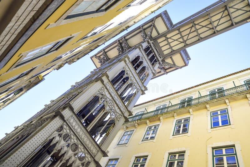 Elevador de santa Justa in Lisbon, Portugal seen from below. Elevador de santa justa in Lisbon Portugal. Steel tower with an elevator inside royalty free stock photo