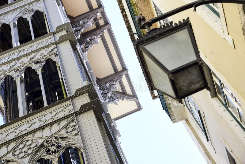 Detail of the Elevador de santa Justa in Lisbon. Elevador de santa justa in Lisbon Portugal. Steel tower with an elevator inside royalty free stock photos