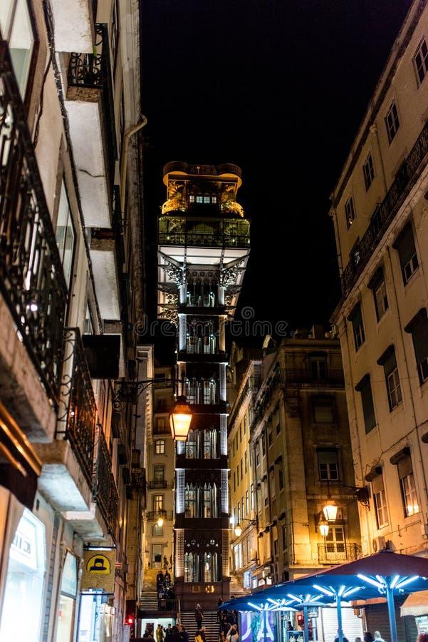 Elevador de Santa Justa in the night, Santa Justa Elevator, land. Elevador de Santa Justa, a.k.a. El Grasciaro, in the night, Santa Justa Elevator, landmark of stock photos