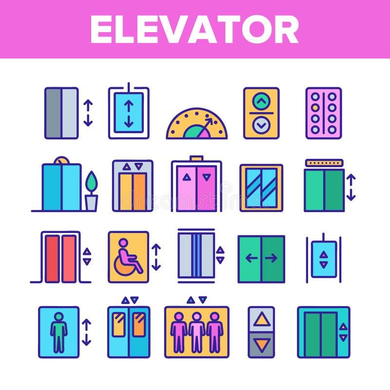 Elevador del pasajero del color, sistema linear de los iconos del vector de la elevación ilustración del vector