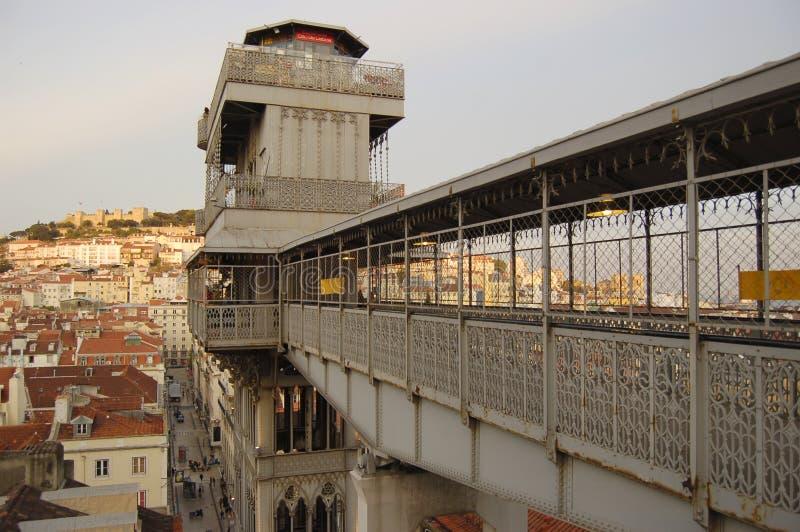 Elevador do justa de Santa em Lisboa imagem de stock