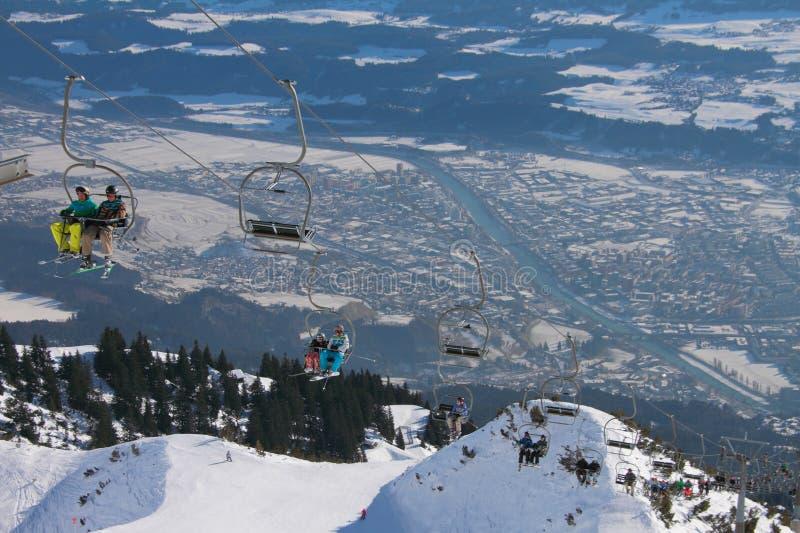 Elevador en estación de esquí Innsbruck, Austria fotos de archivo libres de regalías