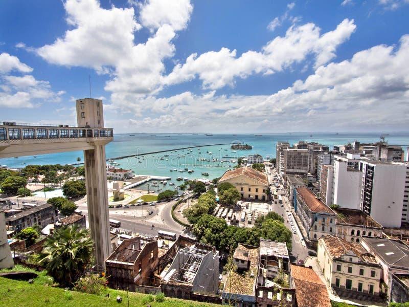 The Elevador Lacerda and All Saints Bay, Salvador,. The iconic Elevador Lacerda overlooking All Saints Bay (Baía de Todos os Santos) in Salvador, Bahia stock photography
