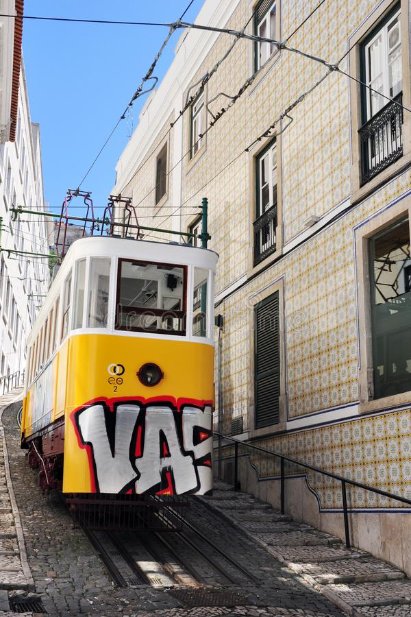 Elevador to go to the Barrio Alto in Lisbon. Daytime a quiet neighborhood where you can enjoy popular moments in the picturesque alleys of the Portuguese capital stock photography