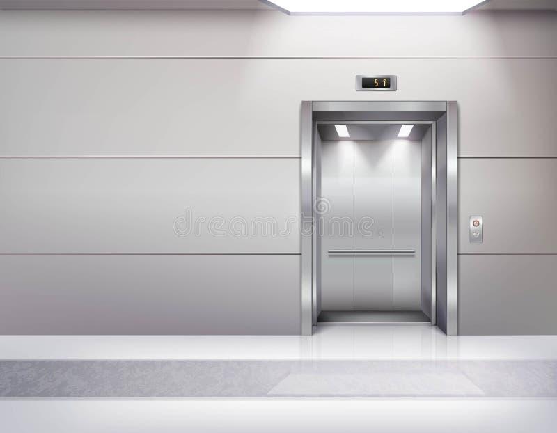 Elevador vazio realístico Hall Interior ilustração do vetor