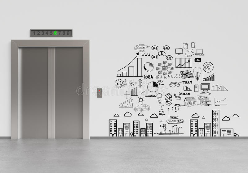 Elevador y plan empresarial ilustración del vector