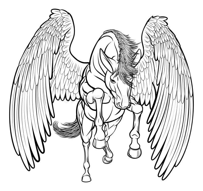 Elevando o cavalo de Pegasus ilustração do vetor