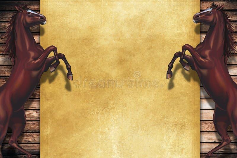 Elevando o espaço da cópia dos cavalos ilustração do vetor