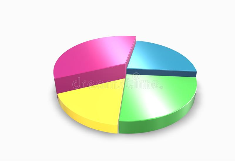 Elevated 3d pie chart royalty free illustration