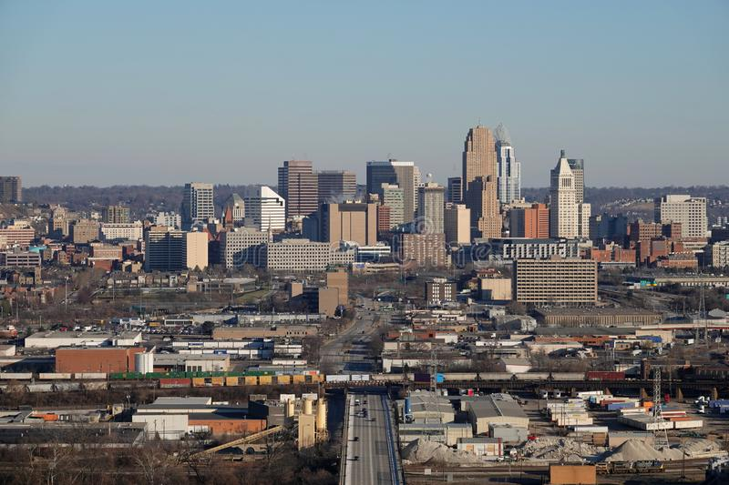 Elevated Daytime View of the Cincinnati, Ohio, USA Skyline on a Winter Day. The Cincinnati, Ohio, USA skyline is shown from a wide, elevated view on a winter stock images