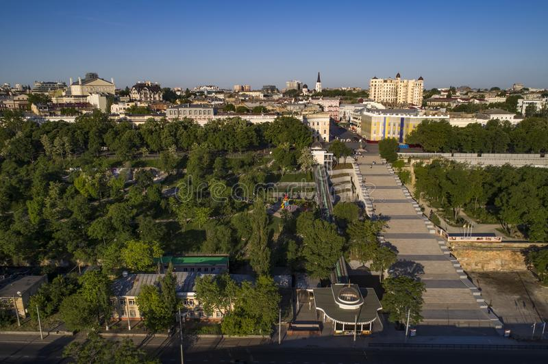 Elevated drone image of the Potemkin Stairs Odessa royalty free stock image