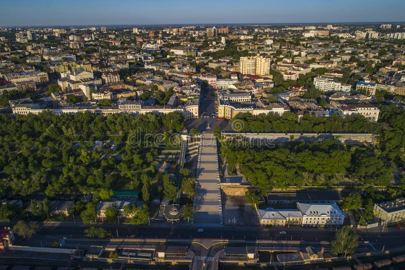 Elevated drone image of the Potemkin Stairs Odessa stock image