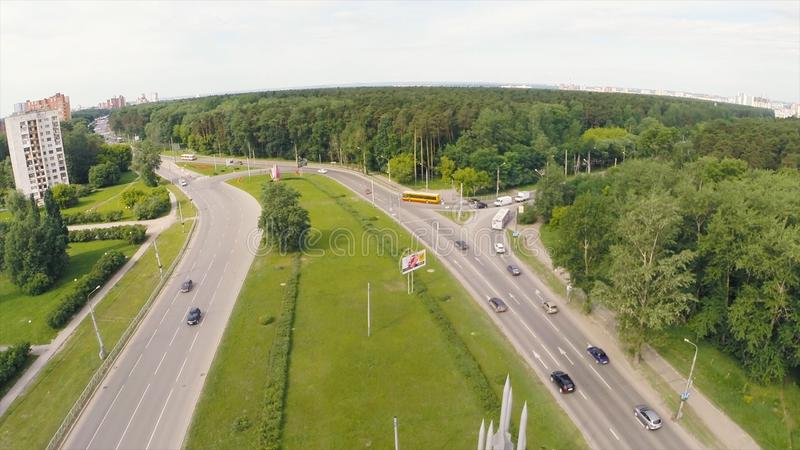 Elevated expressway. Clip. Aerial view. Top view of the road junction. Background scenic road stock photo
