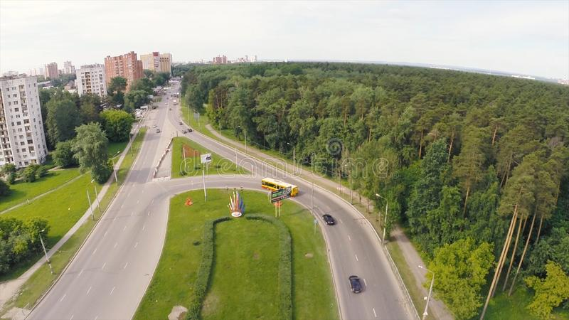 Elevated expressway. Clip. Aerial view. Top view of the road junction. Background scenic road royalty free stock photography