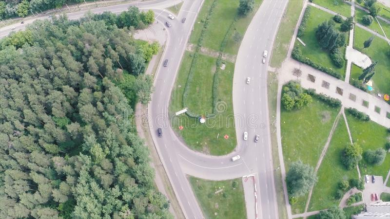 Elevated expressway. Clip. Aerial view. Top view of the road junction. Background scenic road royalty free stock photo