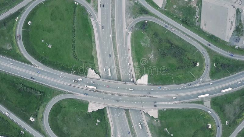 Elevated expressway. Clip. The curve of suspension bridge. Aerial view. Top view. Background scenic road stock photo
