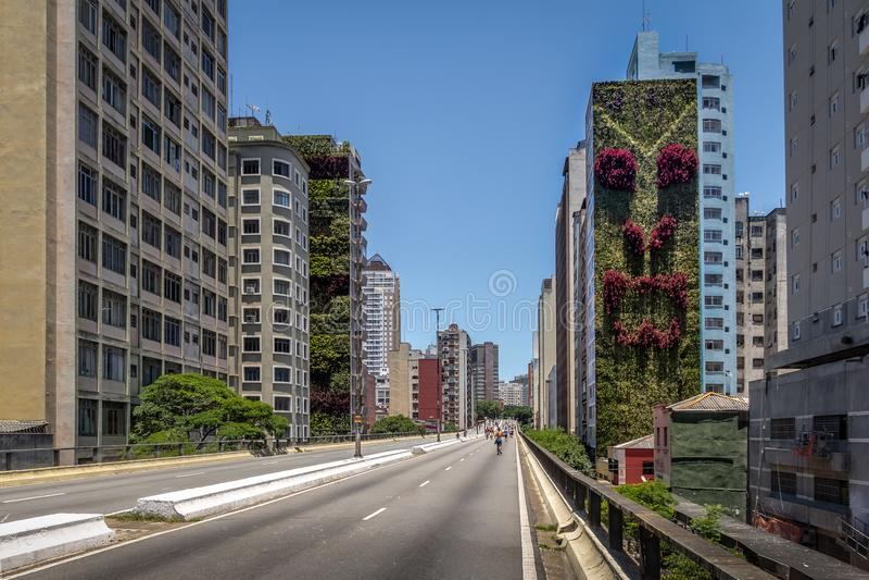 Elevated highway known as Minhocao, Elevado Presidente Joao Goulart - Sao Paulo, Brazil royalty free stock photos