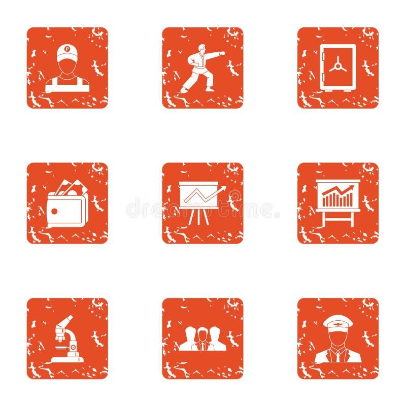 Elevated level icons set, grunge style. Elevated level icons set. Grunge set of 9 elevated level vector icons for web isolated on white background royalty free illustration