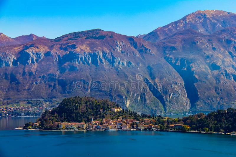 Elevated, panoramic and distant view of Bellagio stock image