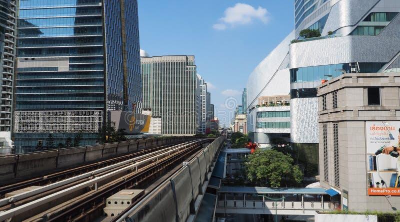 Elevated train tracks in Thai capital stock photos
