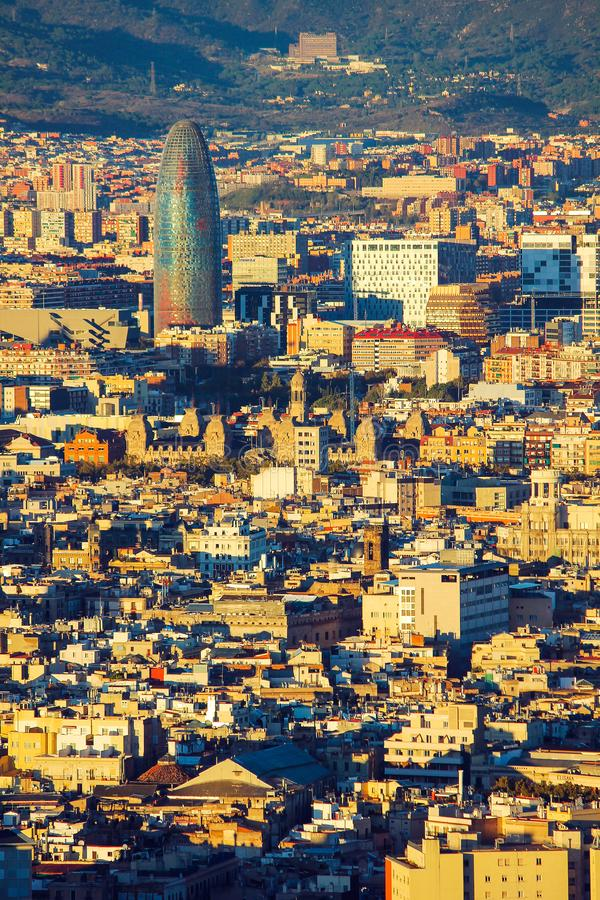 Elevated view of the Agbar Tower. At sunset in Barcelona, Spain royalty free stock photos