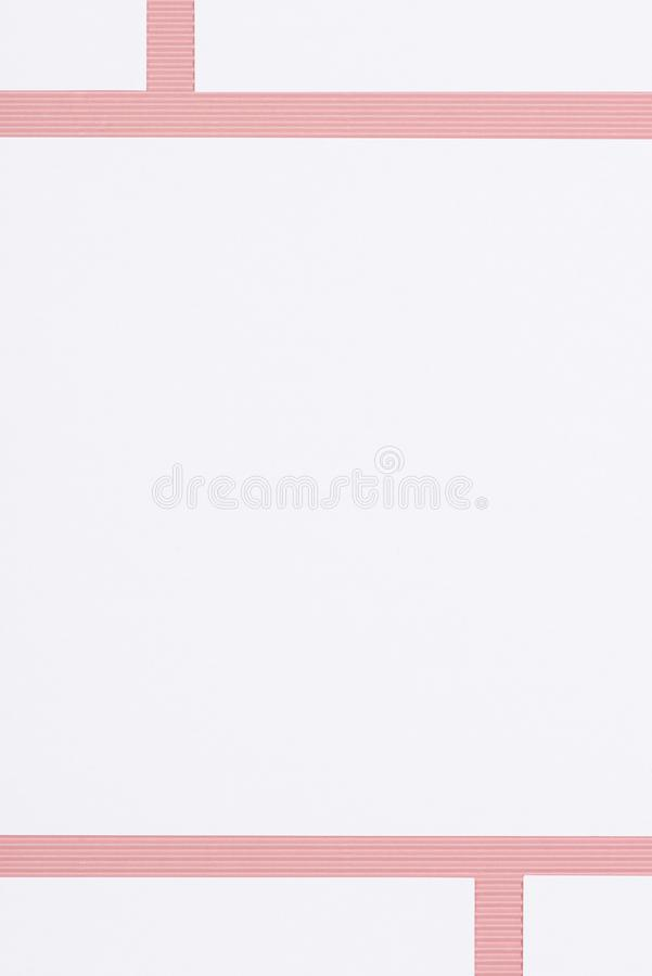Elevated view of blank white pages. On pink stock photos