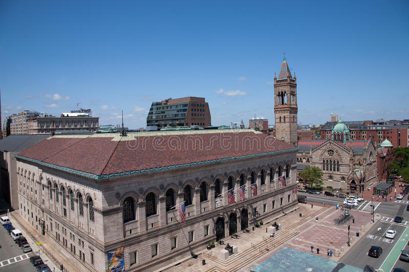 Elevated view of Boston Public Library royalty free stock photo