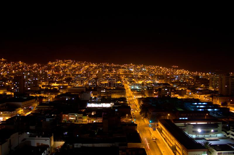 Elevated view of the city of Antofagasta, Chile, at night. Elevated view of the streets of Antofagasta, Chile, at night stock photo