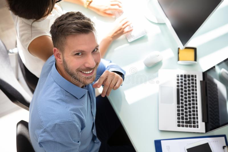 Elevated View Of A Happy Businessman royalty free stock photo