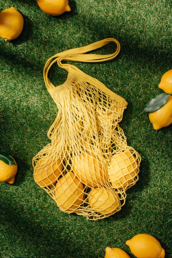 elevated view of lemons and net royalty free stock photos