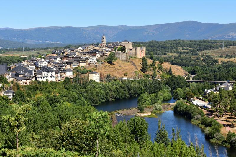 Elevated view of the medieval town of Puebla de Sanabria and the. View of the medieval town of Puebla de Sanabria and the river Tera, Zamora province, Castilla royalty free stock photos