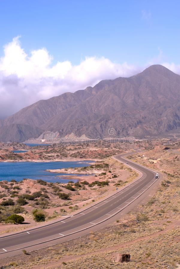 Elevated view of National Route 7 in the province of Mendoza, Argentina. stock photo